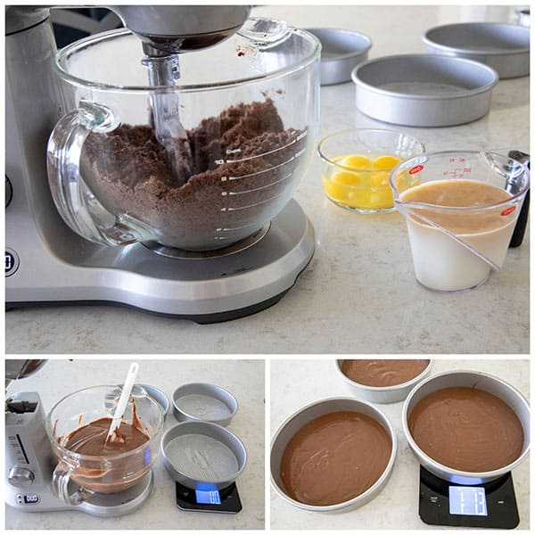 Making cake batter for a Chocolate Dulce De Leche Triple Layer Cake