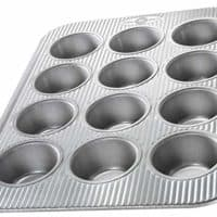 USA Pan (1200MF) Bakeware Cupcake and Muffin Pan, 12 Well, Aluminized Steel