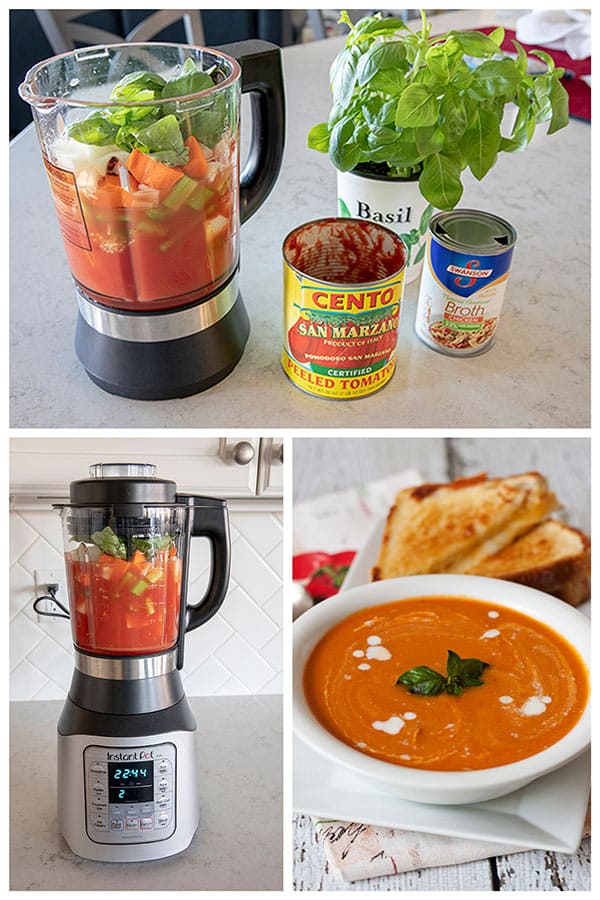 Making tomato basil soup in the Instant Pot Ace Blender