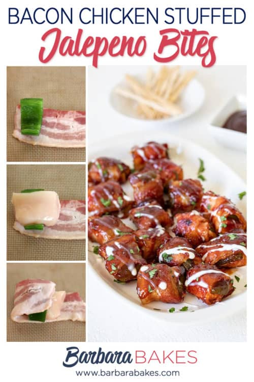 Bacon Wrapped Chicken Stuffed Jalepeno Bites - Awesome Appetizer from BarbaraBakes.com