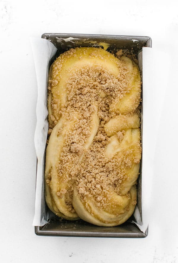 Lemon Streusel Twisted Babka in Loaf Pan
