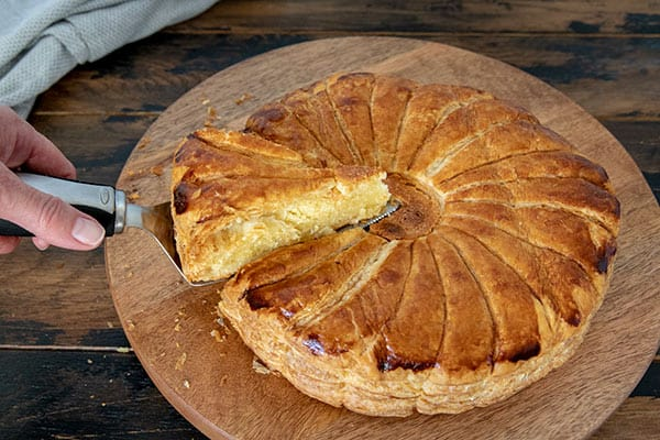 Sliced Pithivier pastry.