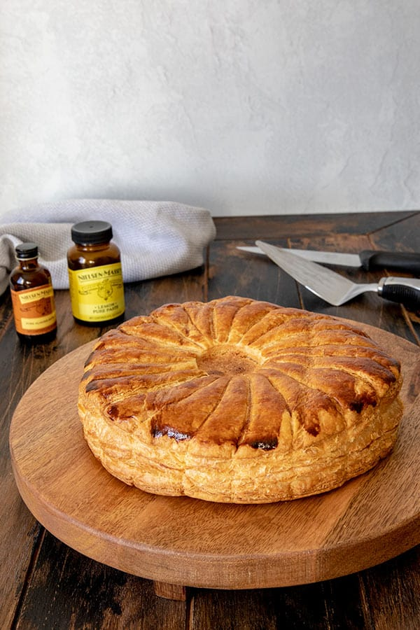 Golden brown Pithivier pastry.