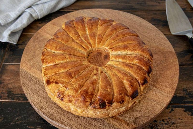 A Pithivier is a luscious puff pastry pie with a creamy almond filling.