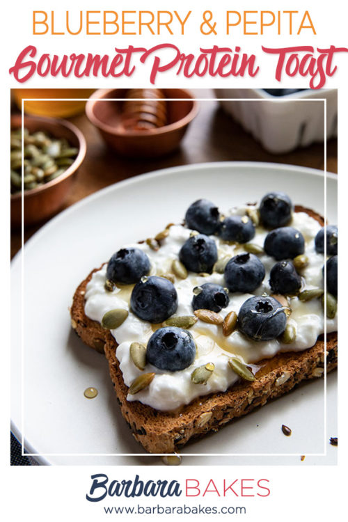 Blueberry Cottage Cheese and Pepitas spread over toast for a Gourmet Protein breakfast toast   Recipe by Barbara Bakes