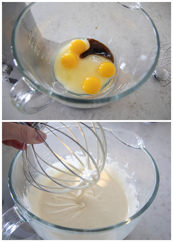 Beating the eggs and sugar until thick.