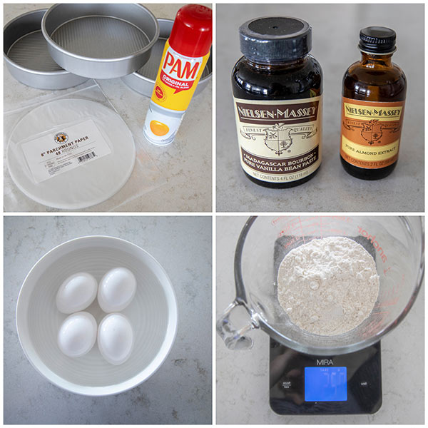 Ingredients and pans for making a triple layer cake.