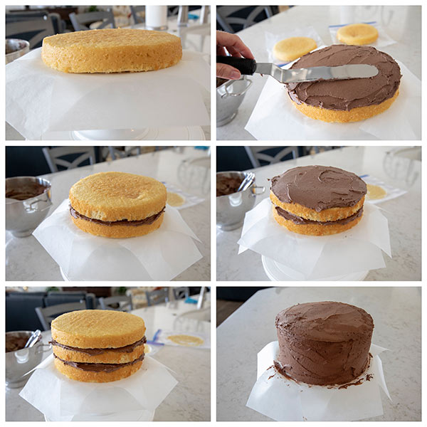 Step by step pictures showing how to frost a triple layer cake.