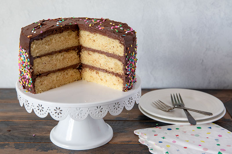 A classic yellow cake with fudgy chocolate frosting.