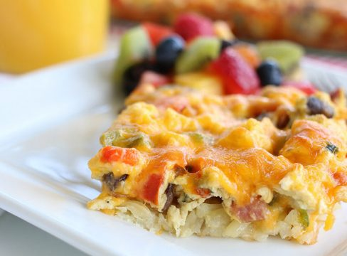 Hashbrown Breakfast Casserole with mushrooms, peppers and onions