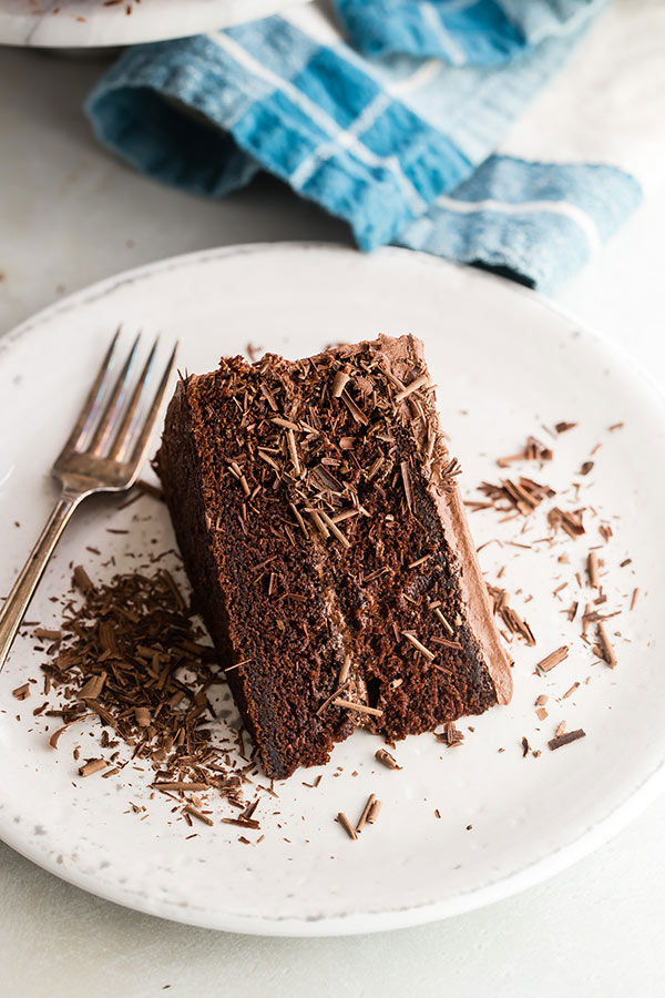 A slice of The Hershey's Perfectly Chocolate Chocolate Cake.