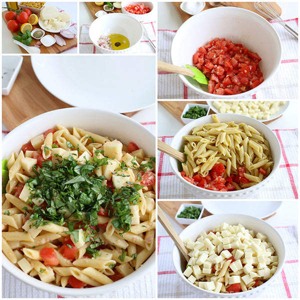 Step by Step Photos of Making Pasta Caprese Salad
