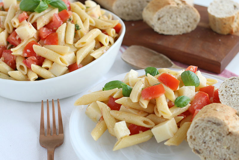 Pasta Caprese Salad served with crusty bread