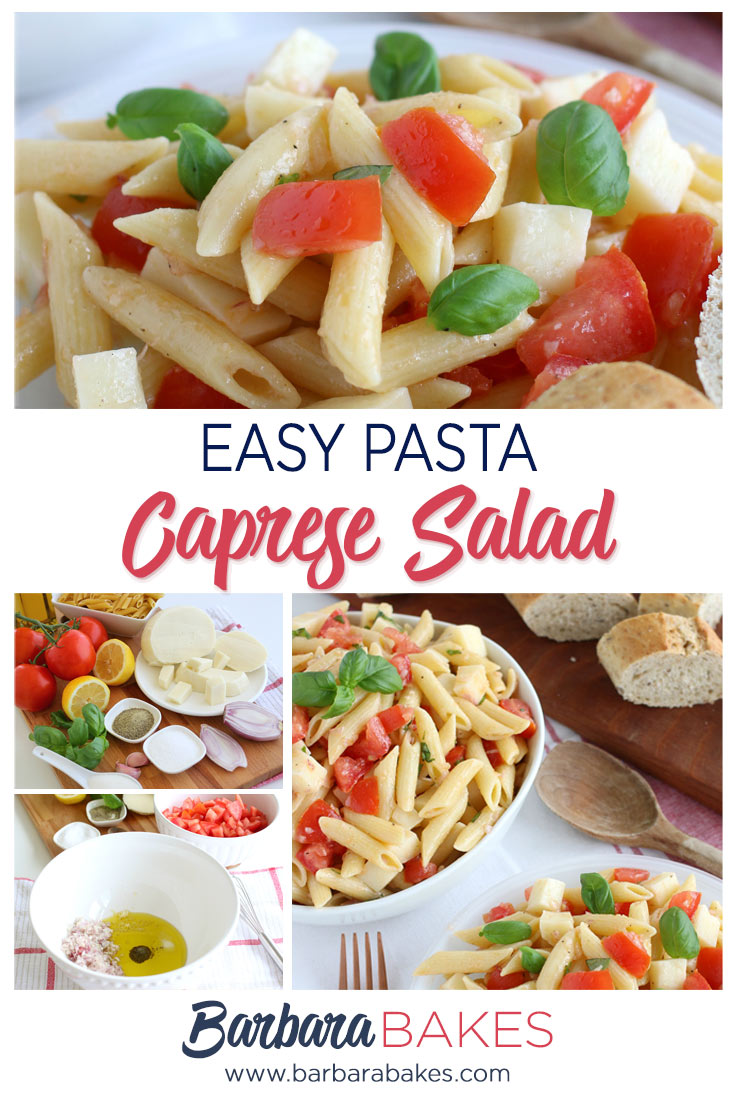 Pasta Caprese Salad Ingredients and Finished Dish