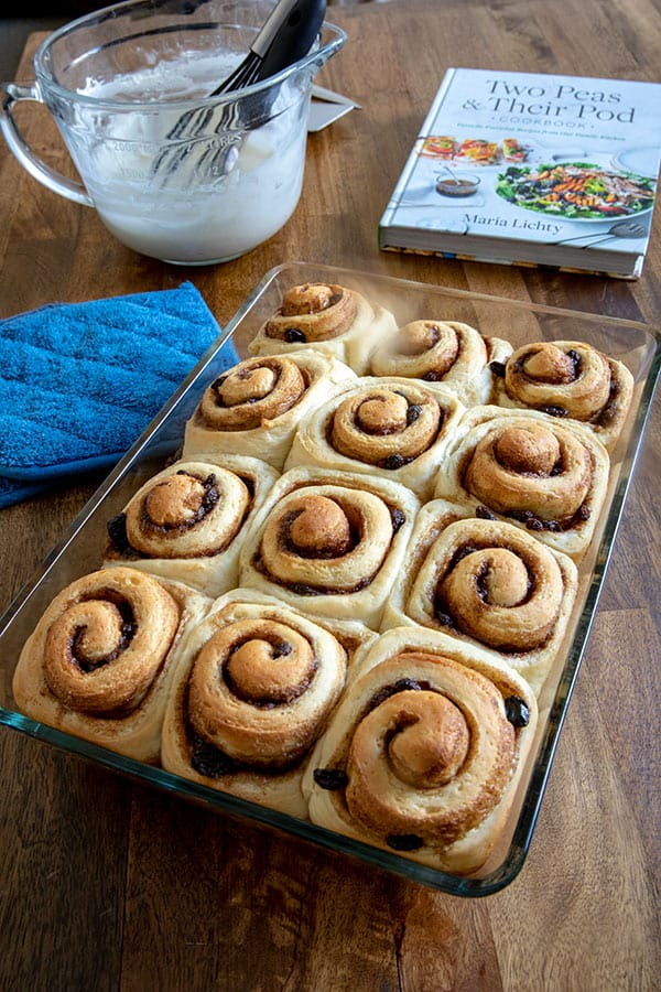 A pan of just baked Easy Homemade Cinnamon Rolls