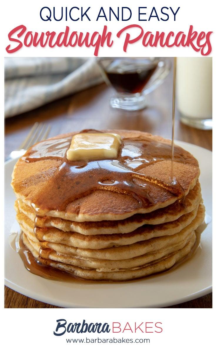 A stack of six sourdough pancakes