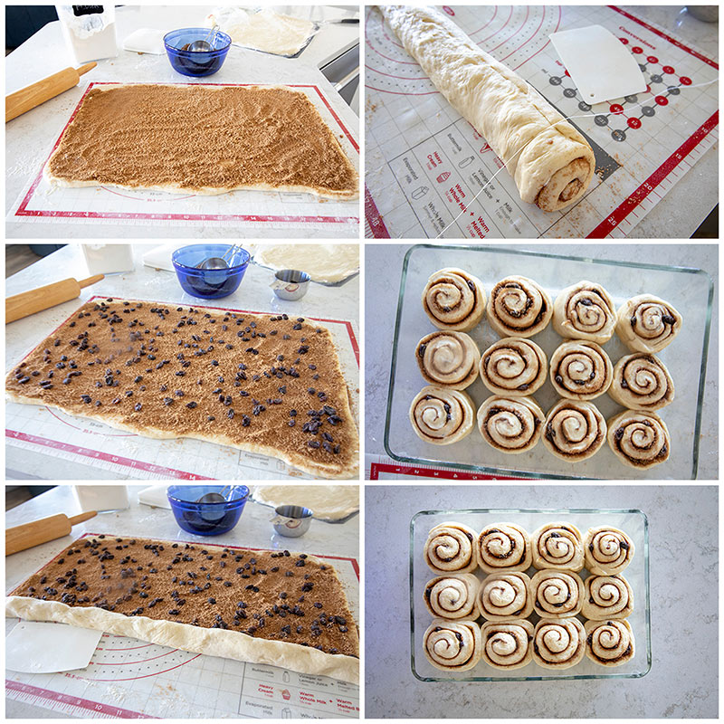 Shaping the dough for Easy Homemade Cinnamon Rolls