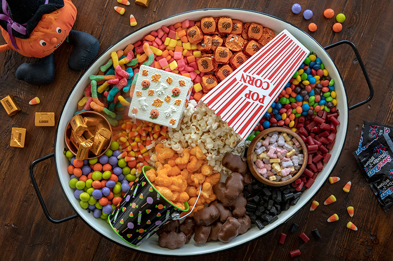 Halloween Movie Night Board in an oval container
