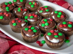 Marshmallow Surprise Brownie Bites with red and green mini M&M's