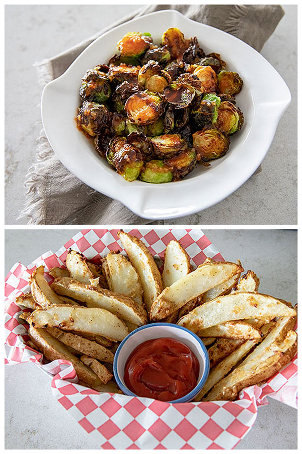 Air Fryer Brussels Sprouts with Honey Sriracha and Garlic Parmesan Air Fryer Potato Wedges