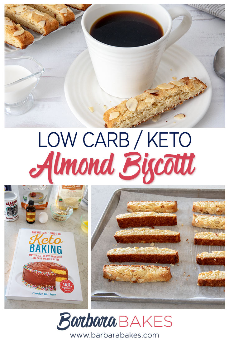 Low carb Keto almond biscotti with coffee