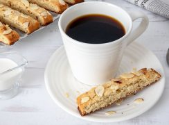 Keto Almond Biscotti with a cup of coffee