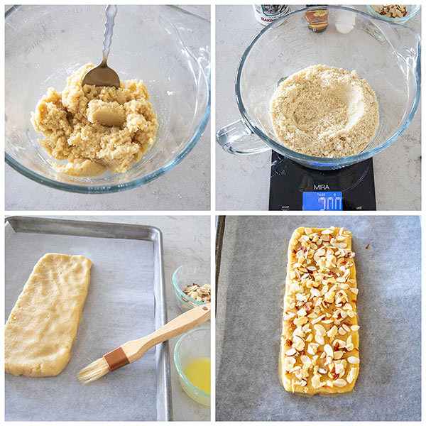 Step by step photos of making almond biscotti