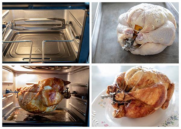 Instant Vortex Air Fryer Oven cooking rotisserie chicken