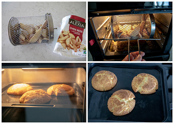 Instant Vortex Air Fryer Oven cooking potato wedges and cookies