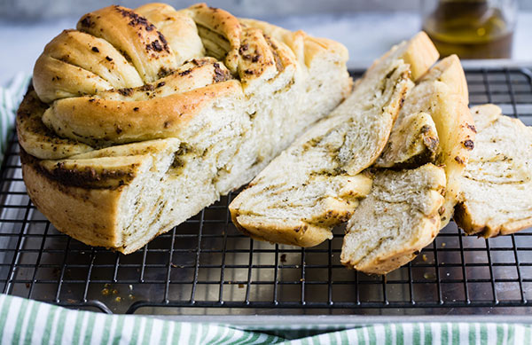 Sliced Russian Braided Bread on a Cooling Tray