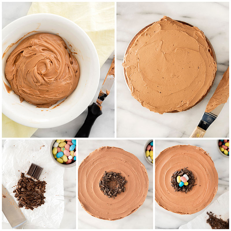 Overhead of a white bowl with malted chocolate frosting, a white napkin and a small offset spatula covered in frosting. As well as step by step photos icing and decorating the cake.