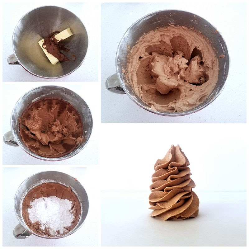 Step by step photos of making Nutella buttercream frosting