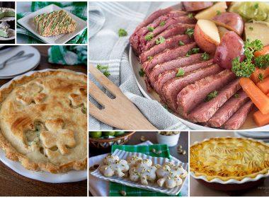 Corned beef, shepherd's pie, chicken pot pie with clovers in the crust, green mint chocolate chip pie, and clover shortbread cookies