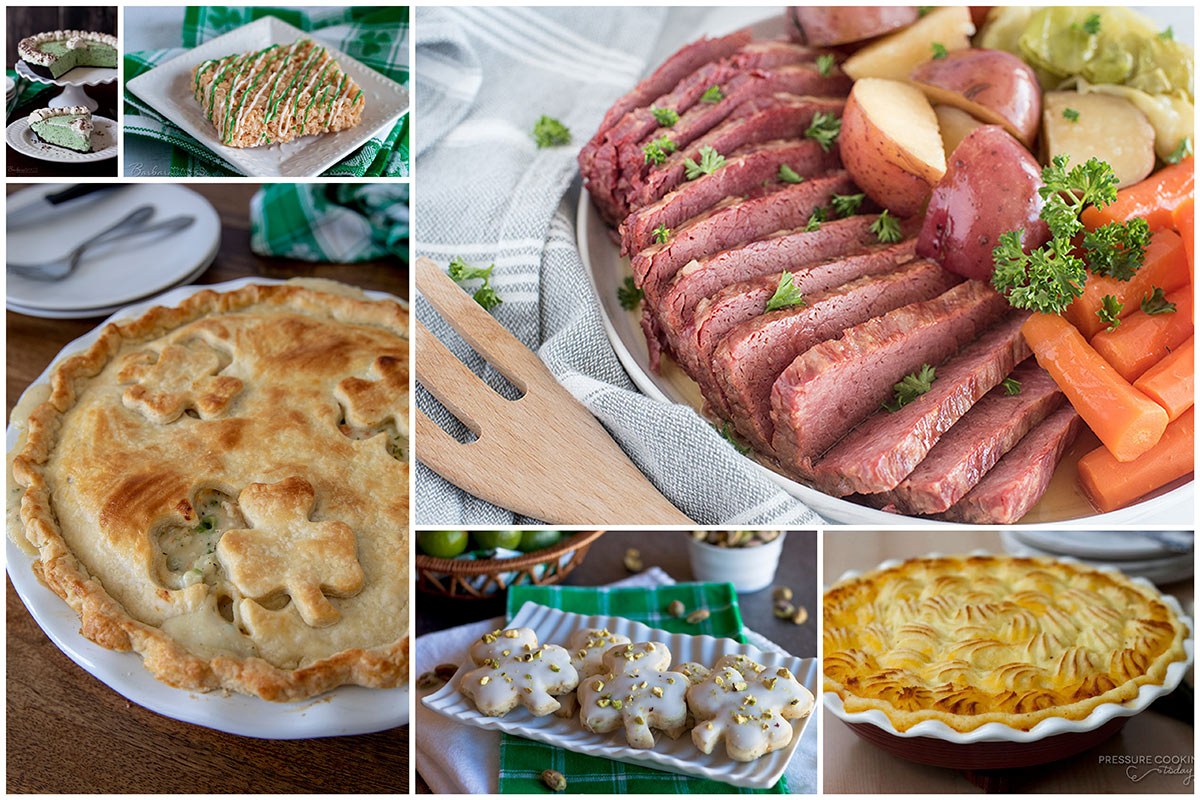 Corned beef, shepherd's pie, chicken pot pie with clovers in the crust, green mint chocolate chip pie, and clover shortbread cookies