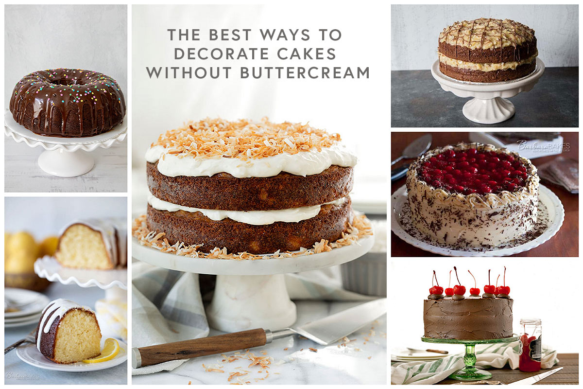 Six beautiful cakes decorated without buttercream frosting.
