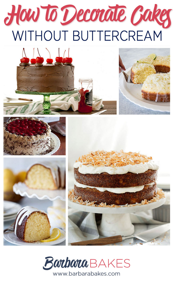 5 cakes decorated without buttercream frosting.