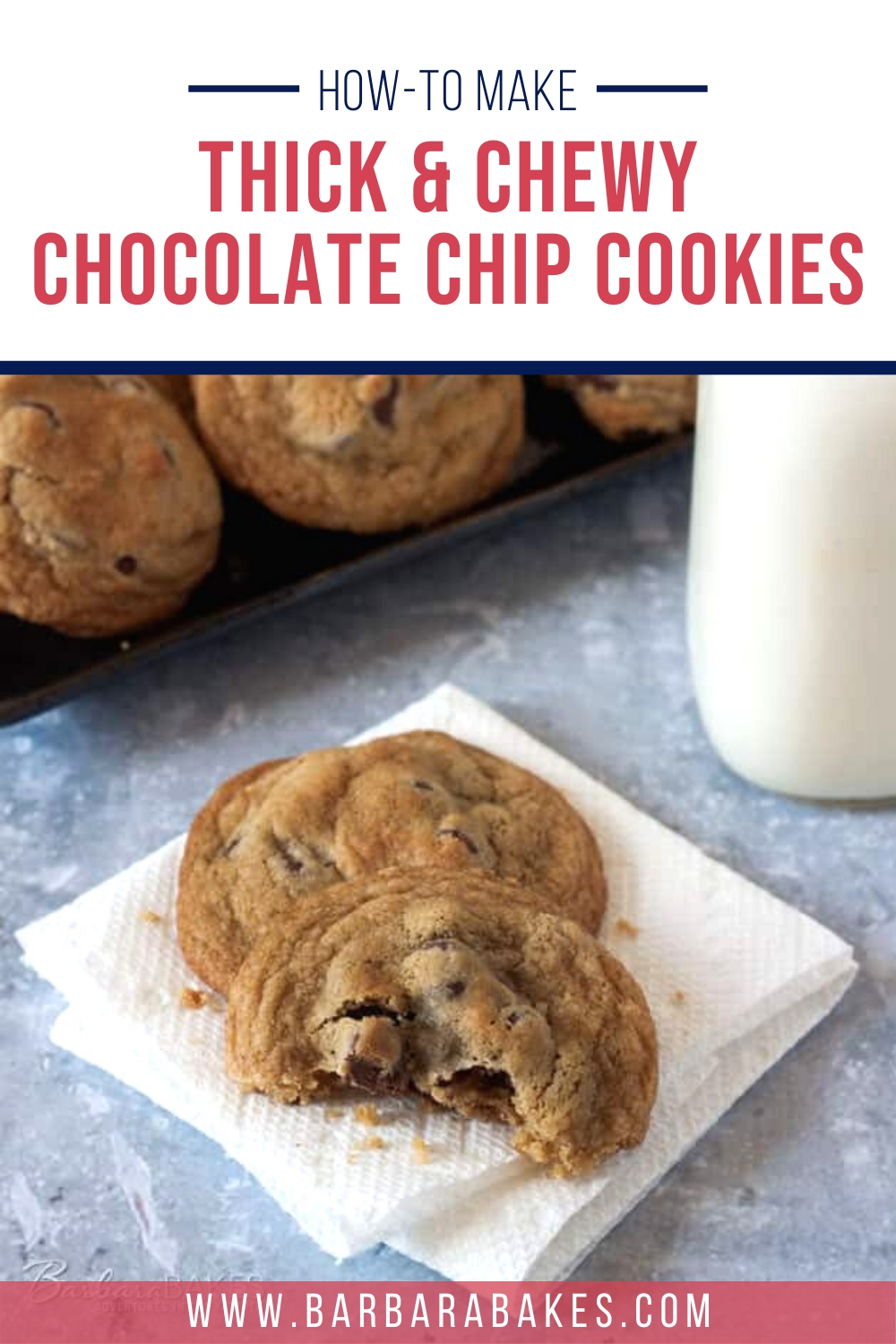 If you like soft, chewy cookies, these thick and chewy chocolate chip cookies are for you. via @barbarabakes