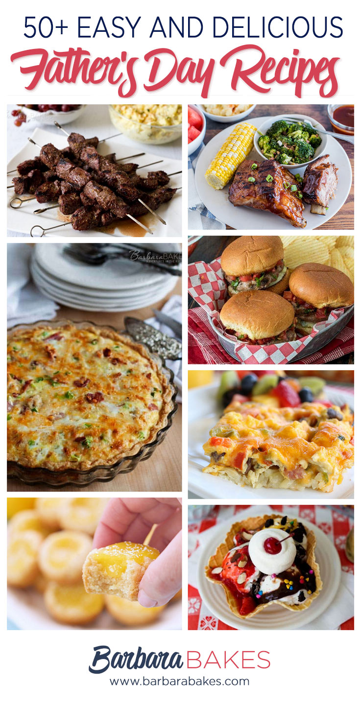 Seven pictures of Father's day recipes. BBQ ribs, steak kabobs, quiche, burgers, hashbrown casserole, waffle ice cream sundae and lemon bar cookies cups