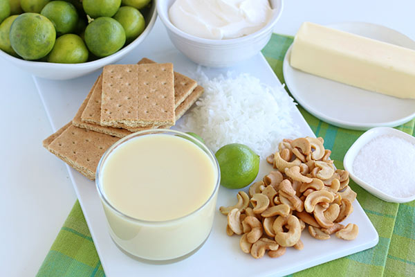 Ingredients for Key Lime Coconut Cashew Bars