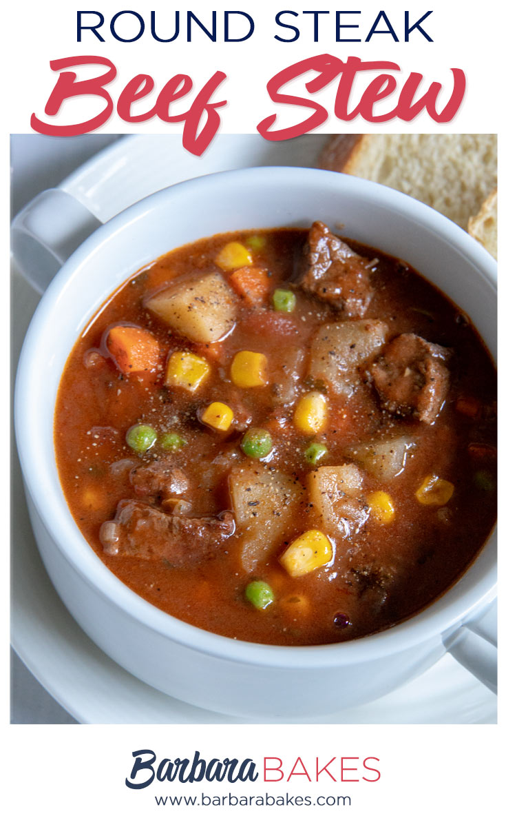 Round Steak Beef Stew with potatoes, carrots, peas and corn
