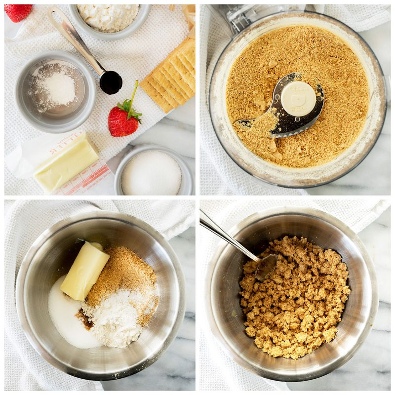 Four photos of making the crust for the cheesecake in a jar