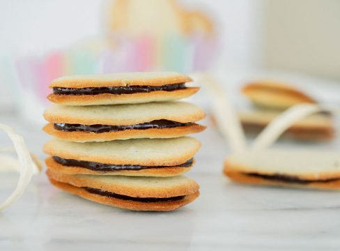 stack of homemade milano cookies